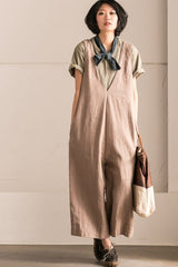 Khaki V-Neck Causal Cotton Linen Oversize Overalls Women Clothes K289BG