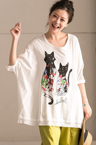 Black Cat White Shorts T-Shirt Summer Women Clothes T0351B