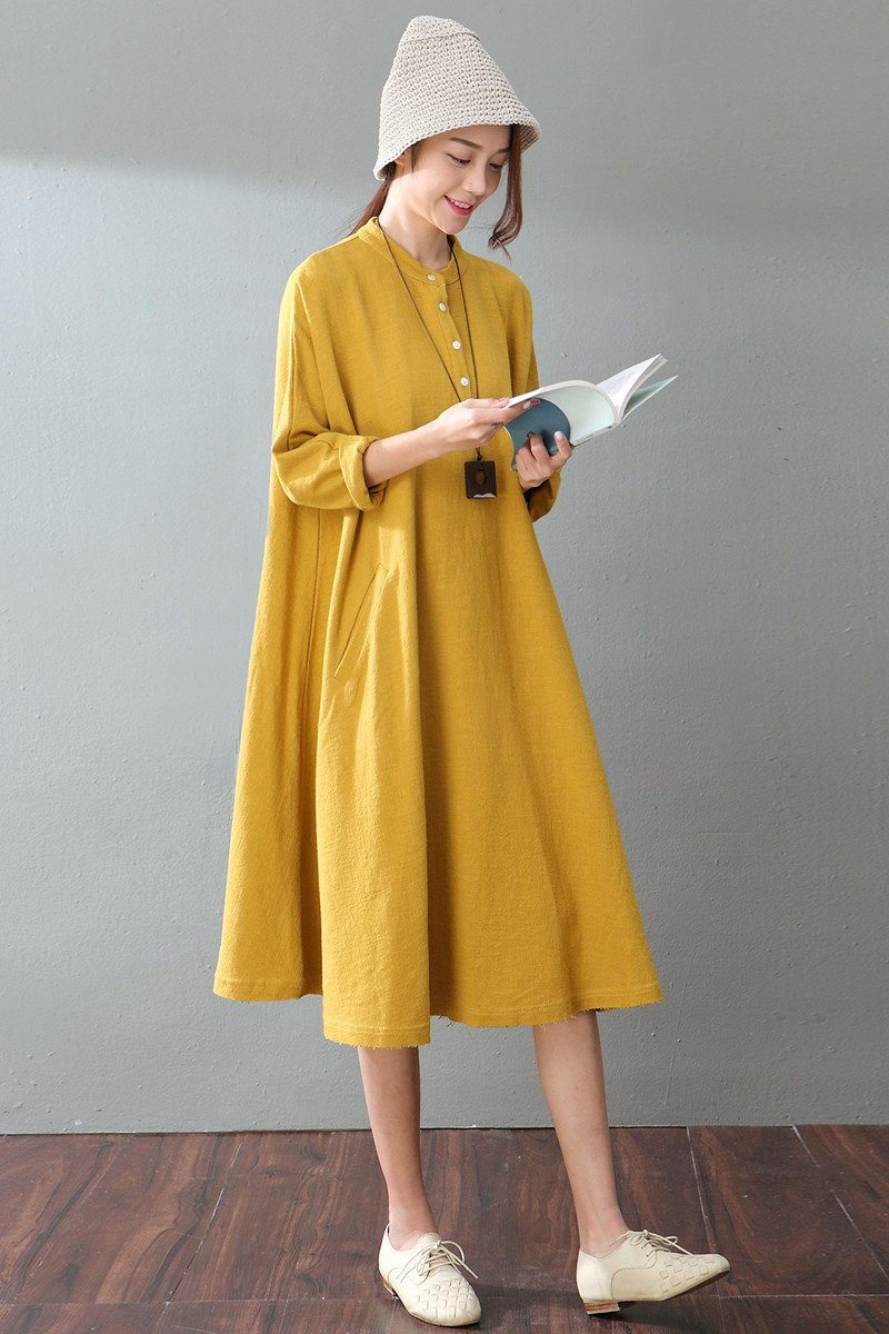 Spring Yellow Casual Cotton Linen Dresses Long Sleeve