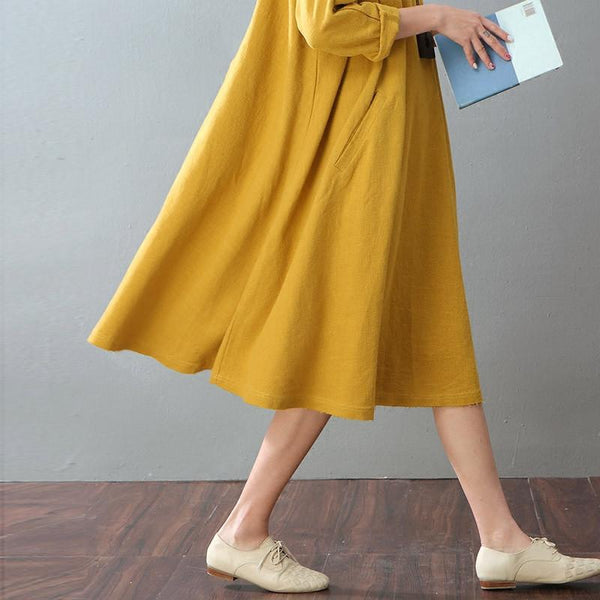 Spring Yellow Casual Cotton Linen Dresses Long Sleeve Shirt Dress Women Clothes - FantasyLinen