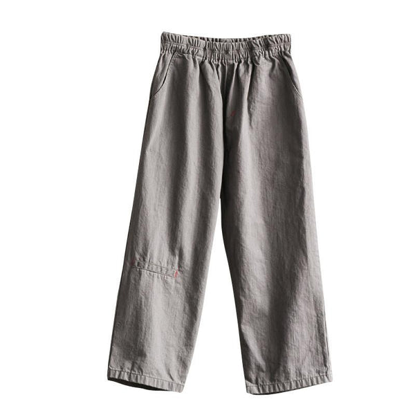 Gray/Green Cotton Wide-legged Pants Women Trousers K295BG - FantasyLinen