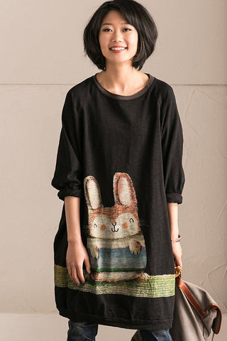 Spring Cotton Round Neck Rabbit Printing Fleece Women Clothes Q1168B