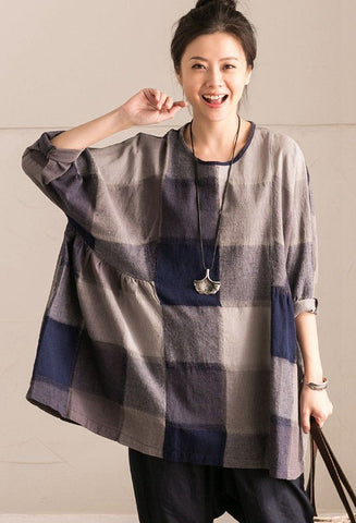 Gray Grid Lovely Sweet Casual Loose Linen Shirt Women Tops C9737B