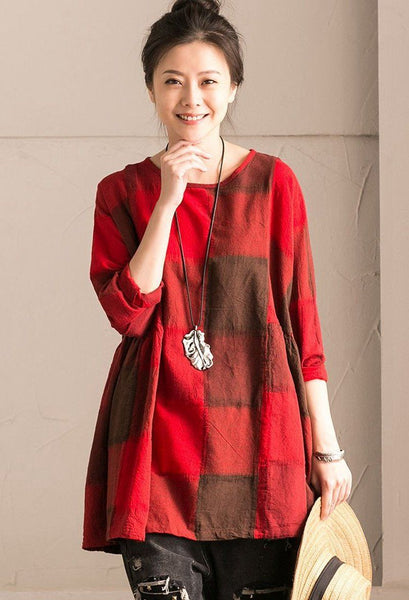 Red Grid Lovely Sweet Casual Loose Linen Shirt Women Tops C9737B