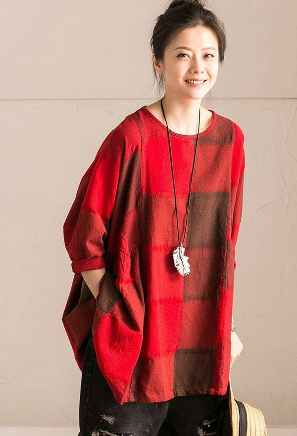 Red Grid Lovely Sweet Casual Loose Linen Shirt Women Tops C9737B - FantasyLinen