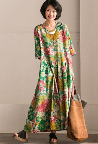 Retro Cotton Linen Flower Long Dress Summer Women Clothes Q302B