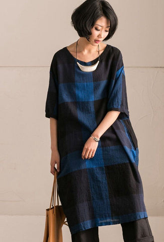 Black Blue Grid Cotton Linen Dress Summer Women Clothes Q9682B