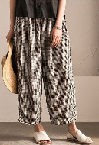 Lovely Black White Grid Wide-legged Pants Linen Casual Trousers K107B
