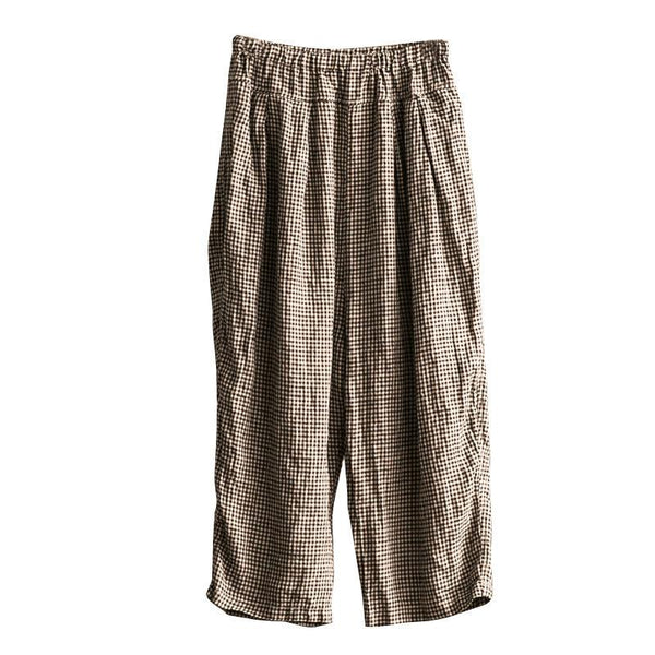 Lovely Black White Grid Wide-legged Pants Linen Casual Trousers K107B - FantasyLinen