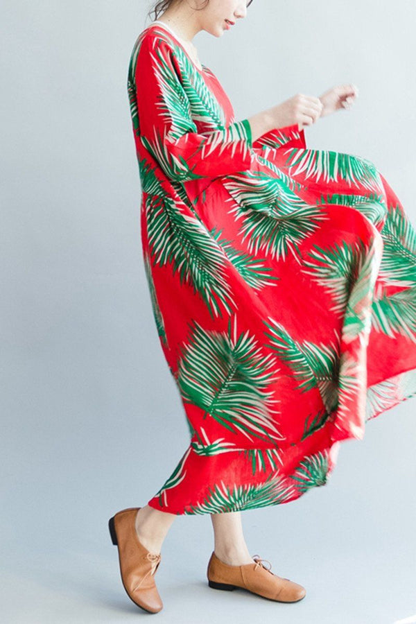 Green Leaves Red Long Sleeve Linen Maxi Size Dresses Oversize Women Clothes Q2804 - FantasyLinen