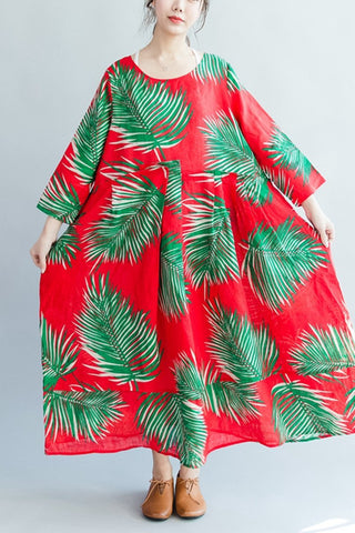 Green Leaves Red Long Sleeve Linen Maxi Size Dresses Oversize Women Clothes Q2804