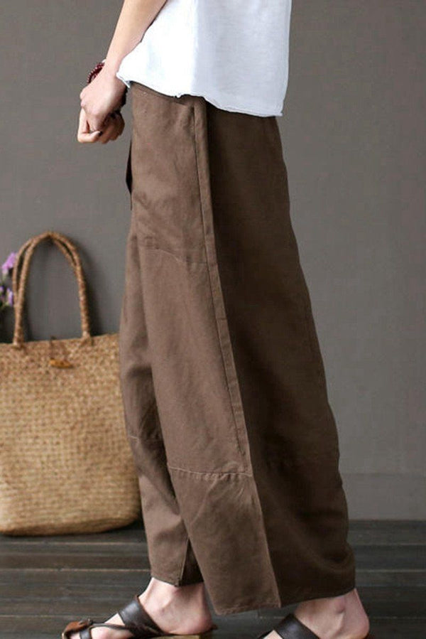 Coffee Loose Cotton Linen Casual Ankle Length Pants Women Clothes P1203 - FantasyLinen