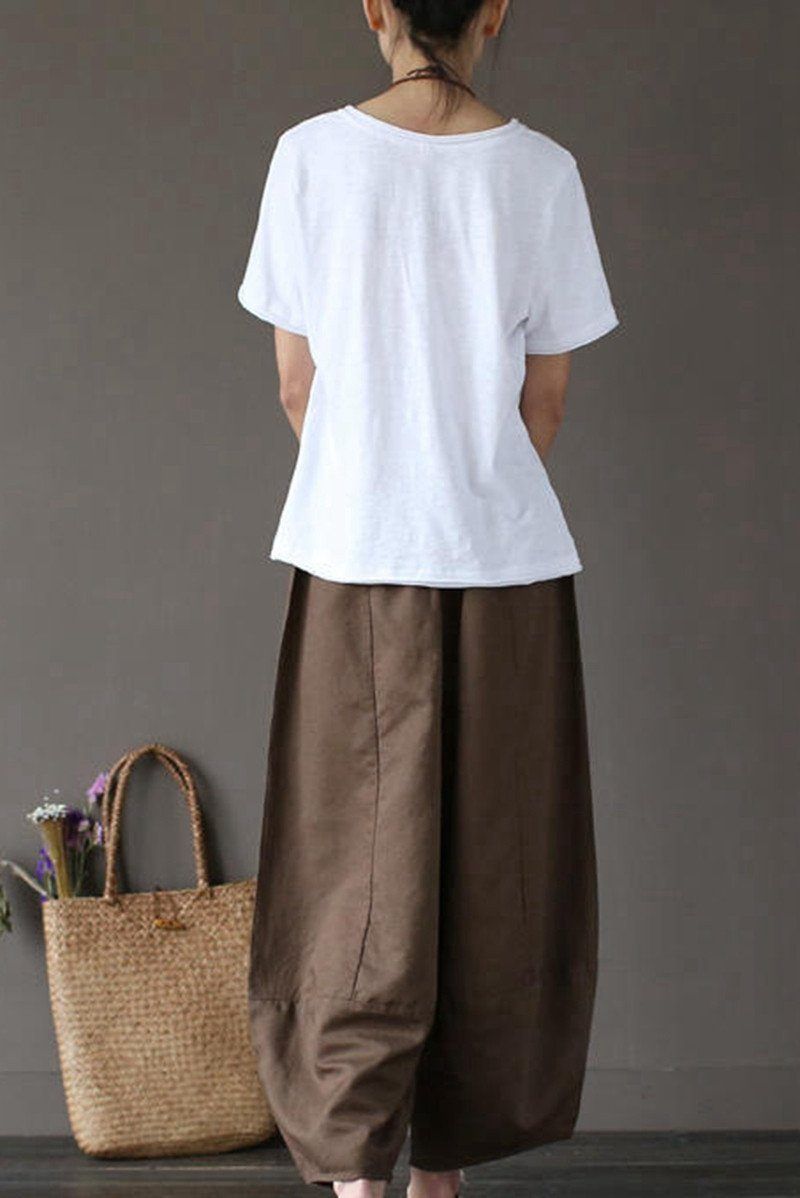 Coffee Loose Cotton Linen Casual Ankle Length Pants Women