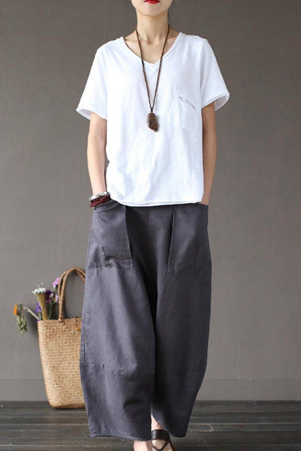 Gray Loose Cotton Linen Casual Ankle Length Pants Women Clothes P1203 - FantasyLinen