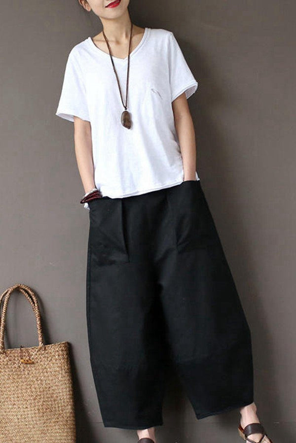 Black Loose Cotton Linen Casual Ankle Length Pants Women Clothes P1203 - FantasyLinen