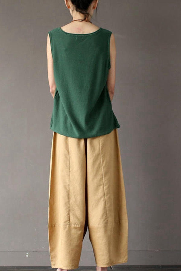 Khaki Loose Cotton Linen Casual Ankle Length Pants Women Clothes P1203 - FantasyLinen