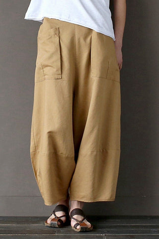 Khaki Loose Cotton Linen Casual Ankle Length Pants Women Clothes P1203