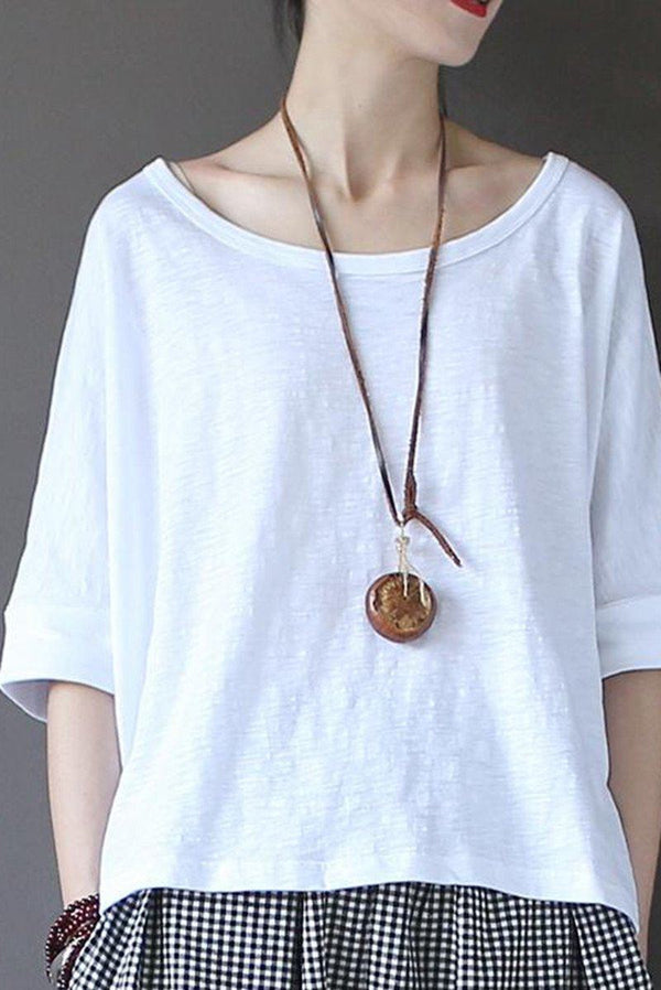White Summer Lovely Sweet Casual Loose T-Shirt Women Tops S1301 - FantasyLinen