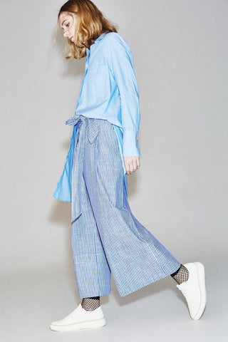 Blue White Stripe Wide-legged Pants Cotton Causel Women Clothes P3403