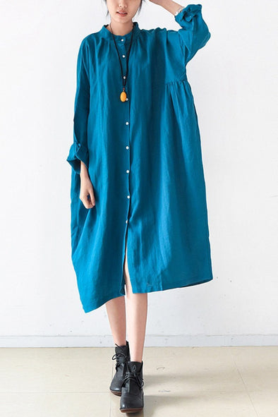 Blue Women Loose Fitting Gown Single Breasted Large Size Maxi Dress Long Shirt Dress Q0805 - FantasyLinen