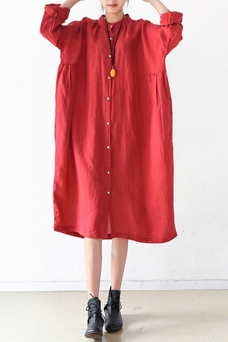 Red Women Loose Fitting Gown Single Breasted Large Size Maxi Dress Long Shirt Dress Q0805