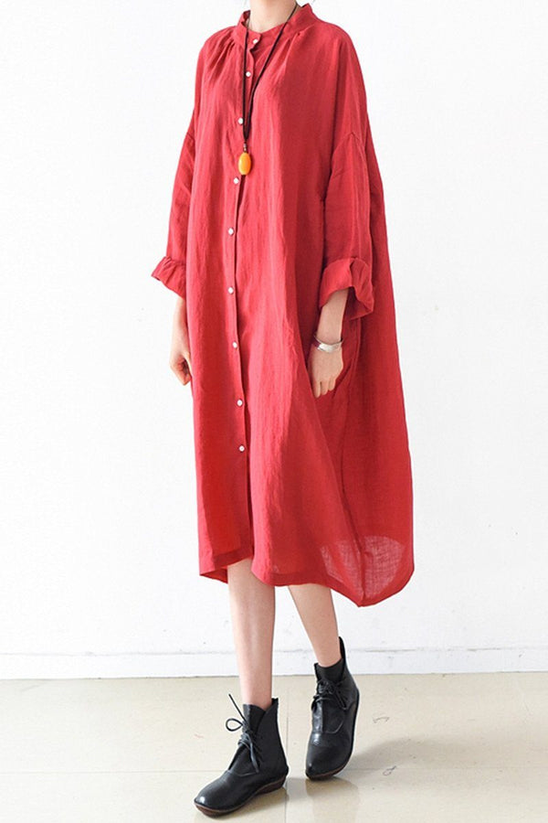 Red Women Loose Fitting Gown Single Breasted Large Size Maxi Dress Long Shirt Dress Q0805 - FantasyLinen