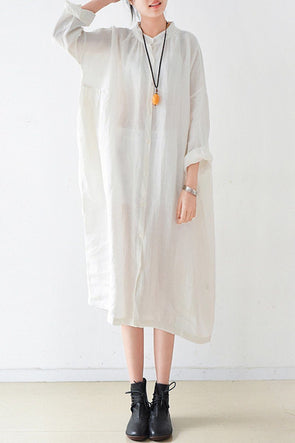 White Women Loose Fitting Gown Single Breasted Large Size Maxi Dress Long Shirt Dress Q0805 - FantasyLinen