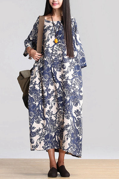 Blue 3/4 Sleeve Floral Loose Maxi Long Gown Dress Q0807