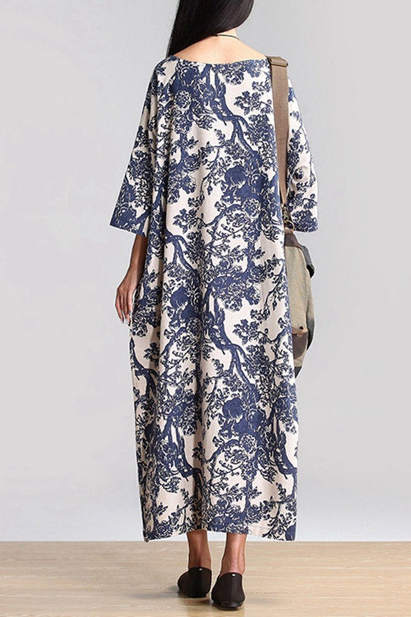 Blue 3/4 Sleeve Floral Loose Maxi Long Gown Dress Q0807 - FantasyLinen