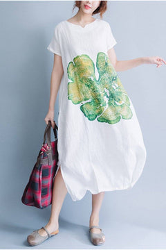 White Short Sleeve Green Big Floral Loose Maxi Long Gown Dress Q0808