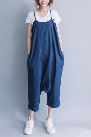 Summer Blue Casual Loose Overalls Trousers Cowboy Pants Women Clothes P0810 - FantasyLinen