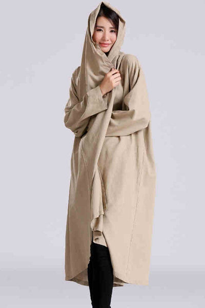 Maxi Size Loose Long Linen Wind Coat Women Clothes C2601