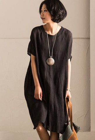 2017 Black Summer Cotton Linen Dresses Bat Sleeve Fold Women Clothes Q2061B