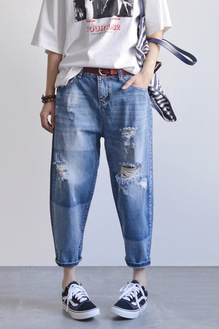 Blue Ripped Boyfriend Jeans For Women