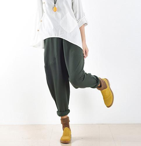 Spring Loose Cotton Casual Ankle Length Pants Women Clothes P2201 - FantasyLinen