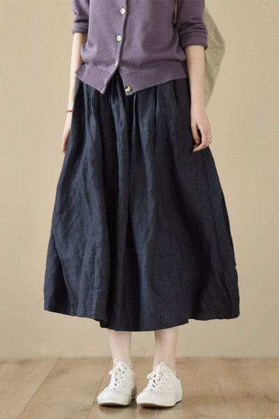 Blue Linen Long Skirts For Women LR985