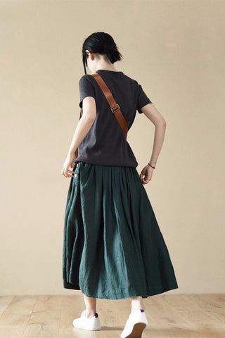 Green Cotton Long Skirts For Women
