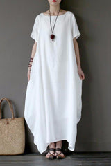 White Casual Linen Plus Size Summer Maxi Dresses 1640