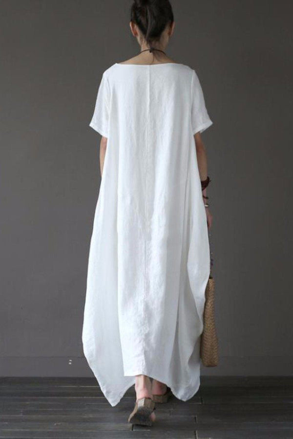White Casual Linen Plus Size Summer Maxi Dresses 1640 - FantasyLinen