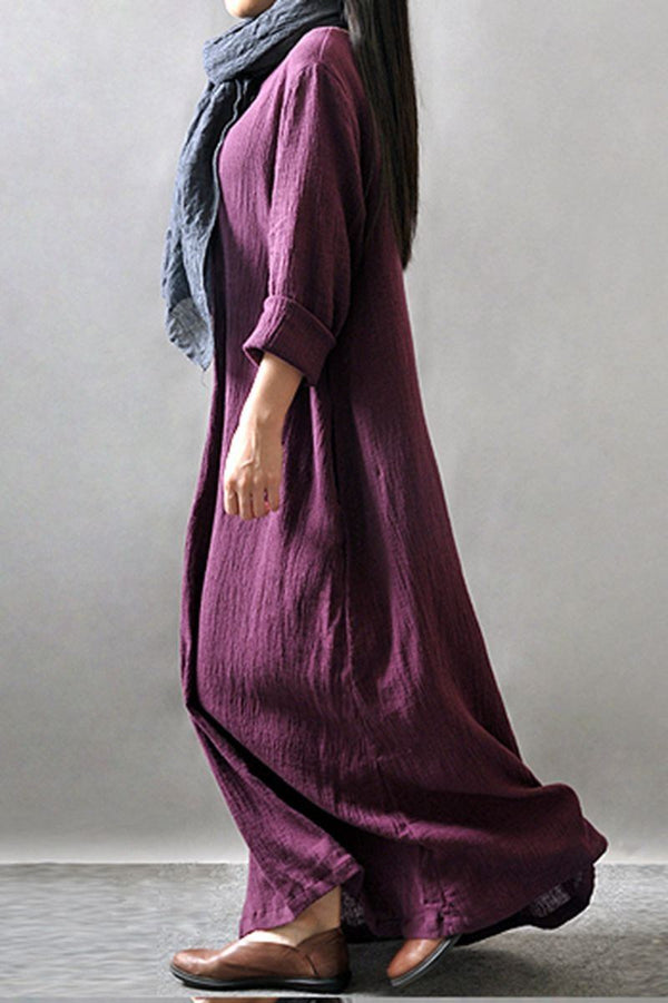 Purple/Black/Orange Maxi Linen Plus Size Women Dresses Q3102A - FantasyLinen