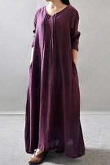 Purple/Black/Orange Maxi Linen Plus Size Women Dresses Q3102A