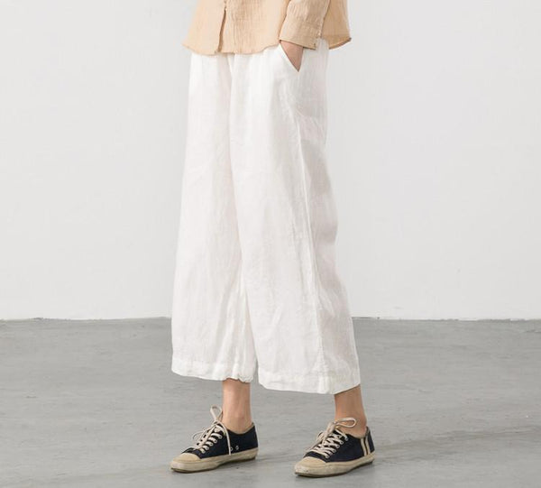 Linen Trousers White Women Slacks Pants K56101 - FantasyLinen