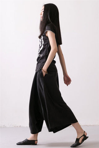 Linen Trousers Black Women Dress Slacks Pants K037
