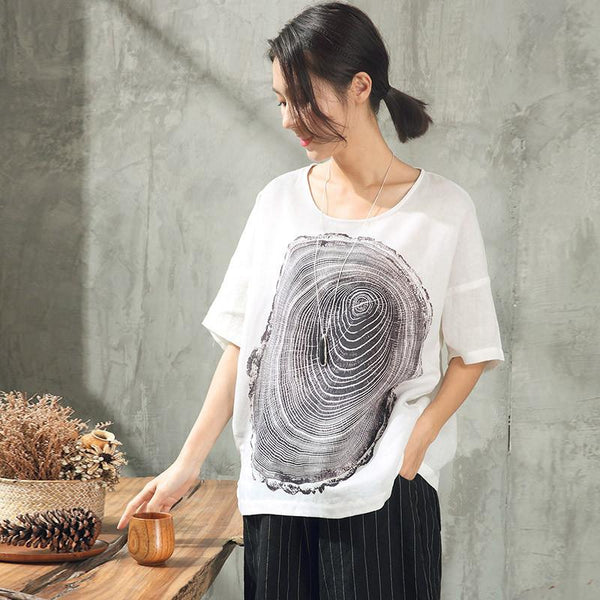 Summer Lovely Printing Casual Loose T-Shirt Women Tops ST059 - FantasyLinen