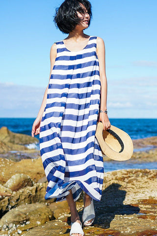 Stripe Sleeveless Summer Dresses Maxi Size Women Clothes Q5161A