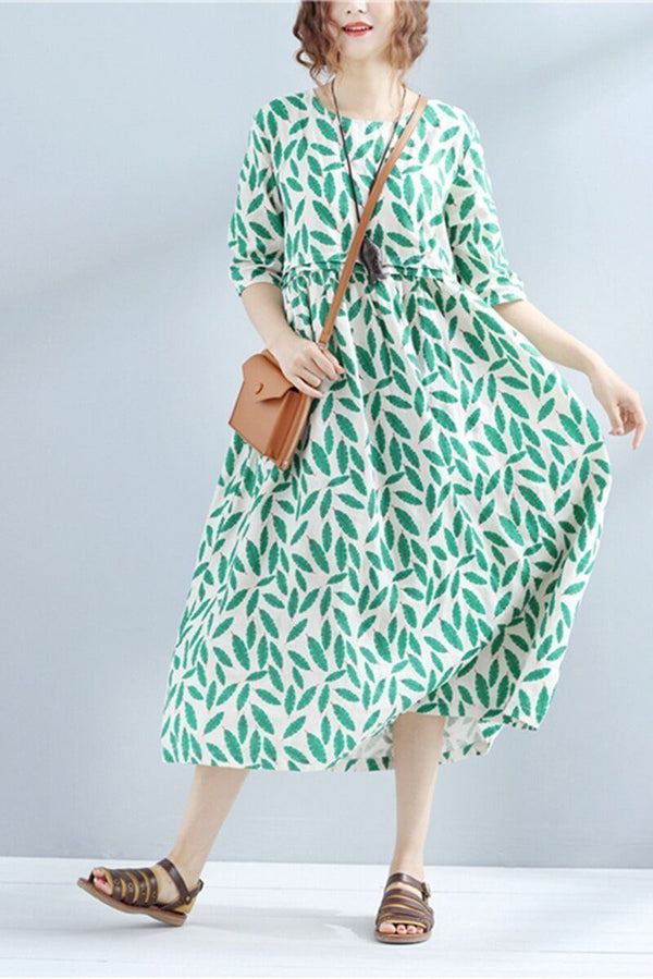 2018 Summer Loose Cotton Linen Green Dresses Women Clothes - FantasyLinen