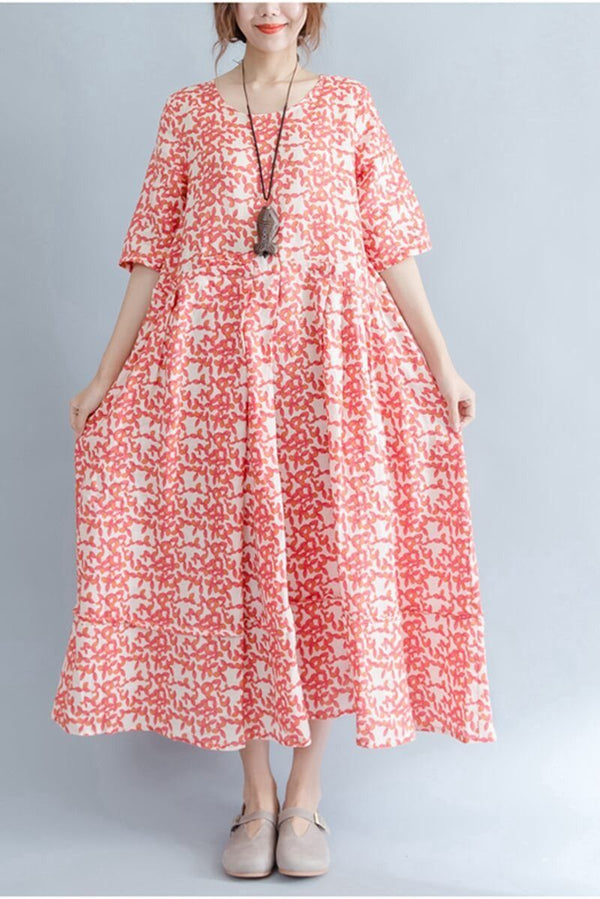 Floral Loose Cotton Dresses Women Clothes - FantasyLinen