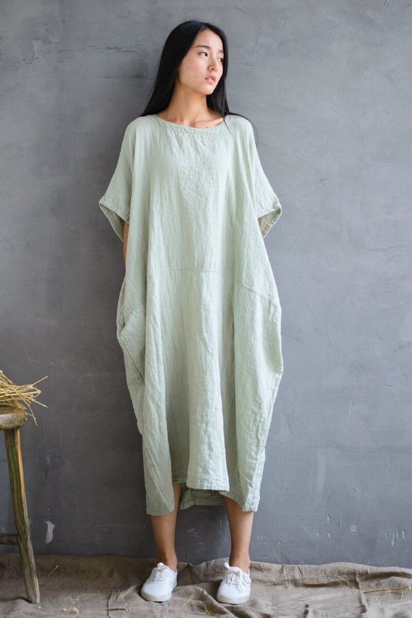2018 Cotton Loose Plus Size Long Dress Women Dress - FantasyLinen