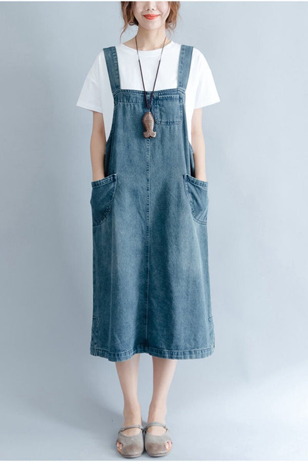 2018 Summer Blue Denim  Suspender Skirt Women Clothes - FantasyLinen