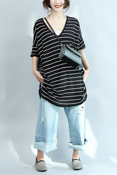 Summer V-neck Cotton Loose Stripe Casual T-Shirt Women Clothes